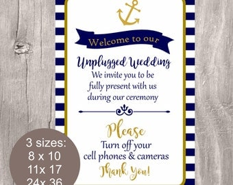 Nautical Wedding Sign, Unplugged Wedding Sign, Printable Unplugged Ceremony Sign, Nautical Wedding Sign, Navy and Gold Anchor Ceremony Sign