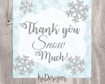 Snowflake Thank You Tags, Printable Winter Favor Tag, Blue and Silver Thank You Tag, Instant Download, Winter Baby Shower Favor Tag
