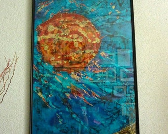 Batik, silk painting, hand painted , natural silk, wall hanger, wall decoration, textile art, fibre art, ShapsigArt's original silk painting