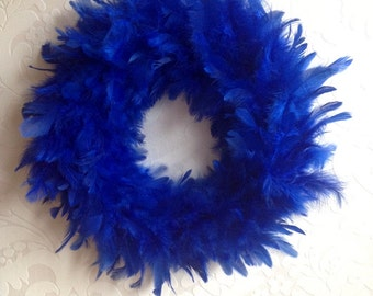 Blue Feather Wreath 12""