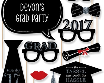 20 Silver Graduation Photo Booth Props - 2017 Graduation Party Photobooth Kit with Custom Talk Bubble