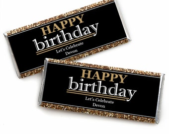 Happy Birthday Candy Bar Wrappers - Adult Happy Birthday - Gold - Personalized Birthday Party Favors - Set of 24