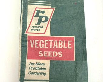 Vintage Research Proved Vegetable Seeds Sack