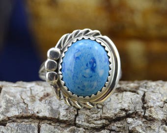 Navajo sterling silver ring w/one denim lapis lazuli stone size 5