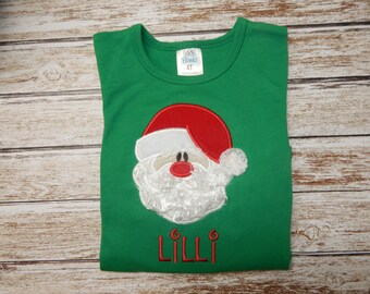 Girls Christmas Shirt; Santa Shirt; Girl's green shirt;  Girl's Santa Shirt