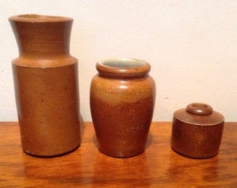 Three Victorian Stoneware Pots - Mid Brown. 1900's.