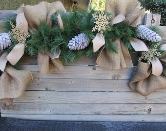 5' Winter Garland Winter Greenery Garland Burlap Garland Pine Cone Garland Winter Mantel Decor Snowflake Door Decor Greenery Mantel Decor