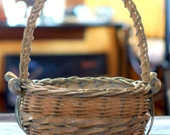 Vintage Handmade Braided and Woven Basket with Bows