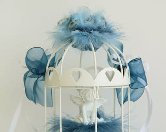 Door alliances marriage cage with cushion Angel feather flowers dark blue and sky blue ribbons beads