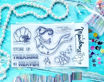 Treasures in Heaven Stamps Christian Stamping Mermaid Seashell Pearl Faith Beach waves Worship Bible Journaling Growing Meadows Tai Bender