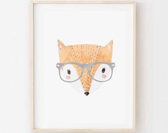 Ferdie Fox - Children's art. Watercolor hipster fox wearing glasses. A4 Print