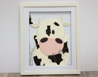 Moo Cow. Hand cut and assembled childrens art. Professionally framed. Unique childrens gift.