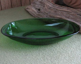 Forest Green Celery or Relish Dish Vereco Made in France 1950-1954 Discontinued Mid Century Modern Vintage Dinnerware