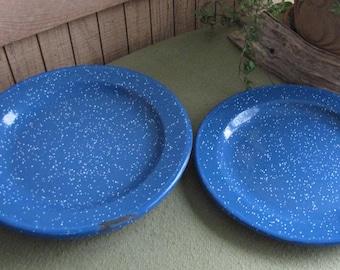 Blue Speckled Enamel Dinner Plates Camping Ware Vintage Dinnerware Farmhouse Rustic Set of Seven (7) Metal Ware