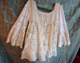 Lace blouse, romantic, handmade off-white and white antique and vintage lace, gypsy, bohemian, femine, whimsical, wedding blouse