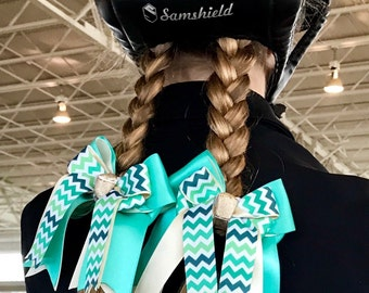 Horse Show Hair  Bows/Small 3x3 size/Green Turquoise Teal Chevron