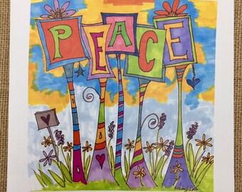 PEACE Garden Greeting Card