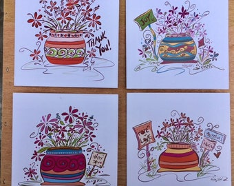 Flower Pot Notecard Package of 4