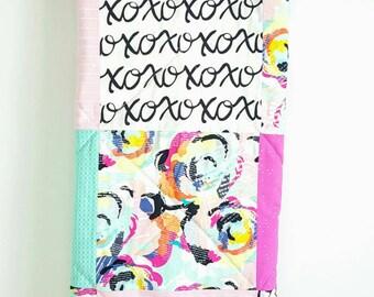 Handmade Baby Blanket Quilt Girl, Nursery, Pink, Mint, Fushia, Rose Graffiti Flowers, X and O Love Black Minky, Made in Canada, Alberta
