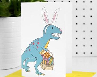 Dinosaur Easter card, easter card, easter bunny, bunny card, dinosaur card, dinosaur, illustrated card, rabbit card, easter rabbit