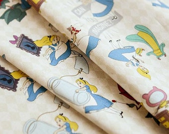 Disney Alice in Wonderland Digital Printing Cotton Fabric by Half Yard, Width 145cm(57 Inches)
