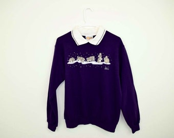 Morning Sun Snow Bunny Collared Crew Neck Sweatshirt / Vintage Holiday Sweater / Purple / Size MEDIUM