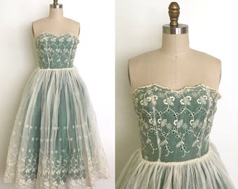 Vintage 1950s dress // 50s organza and lace party dress