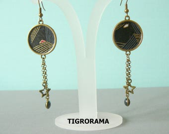 twin Japanese paper black, gold and dangling cabochon earrings