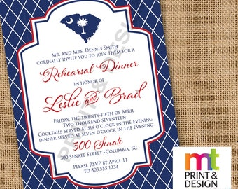Wedding Shower Rehearsal Dinner South Carolina State Palmetto Invitations PRINTED with envelopes