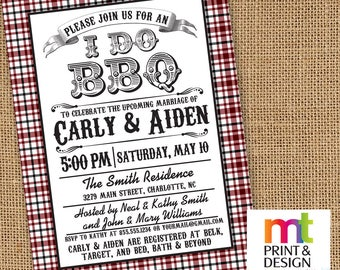 I Do BBQ Wedding Shower Rehearsal Dinner Invitations PRINTED with envelopes