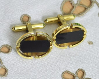 1960s Gold Vermeil Cufflinks - Oval Fronts set with Black Onyx and Tigers Eye Semi Precious Stones Mosaic - 925 Sterling Silver Gold Plated
