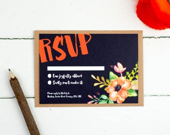 Wedding RSVP Card - Watercolour Woodland - Wedding Stationery - Wedding Reply Card - Printed or DIY Printable Download - Personalised