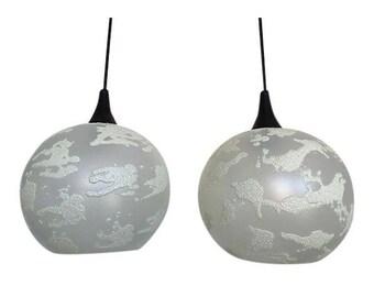 Mid Century Globe Pendant Lights, Pair