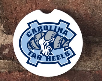Custom Sandstone North Carolina Tar Heels Auto Coasters (set of 2), Absorbent Sandstone Personalized Car Coasters (set of 2) Gift Ideas
