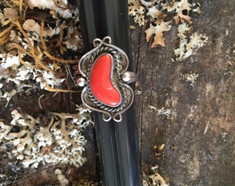 Sterling Silver and Coral ring