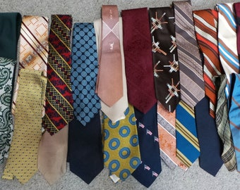 lot of 24 mens ties for crafting assorted patterns - polyester