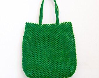 Sac en macramé, sac à main artisanal tissé en fil de pêche nylon, un sac pratique à la ville comme à la plage, coloris vert Sénégal