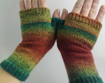 Wrist warmers, fingerless gloves, armwarmers, wool gloves, green stripe gloves, orange stripe gloves, striped gloves, winter warm gloves