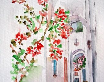 Greece / Original watercolor / Spetses / Greek Islands / Mediterranean