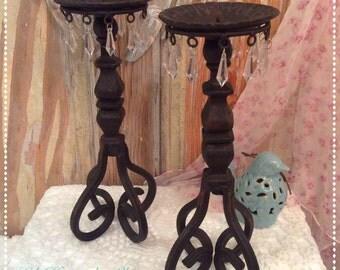 Rustic farmhouse/cabin iron candlesticks, pair