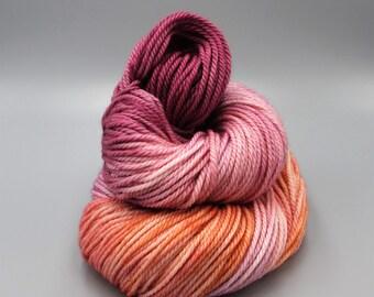 Peach Sangria {Variegated Yarn} - Superwash Yarn - Hand Dyed Yarn - Pink Yarn - Purple Yarn - Gift For Her - Indie Dyed