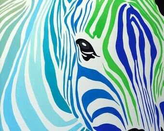 Zebra head in turquoise