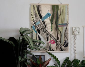 Original art natural,  charcoal and acrylic on paper | nature, wood, botanical art, greenery, living woods, wall decoration, Lindi Melse art