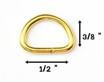 "1/2"" Metal D Ring, Gold  High Quality, for Webbing Strap, Handbag Hardware"