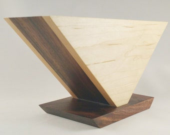 Solid Hardwood Chemex Square Filter Holder (Maple with Walnut insert and Walnut Base)