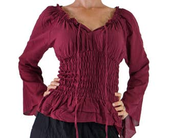 LS PEASANT BLOUSE - Pirate Renaissance Festival Costume Chemise Gypsy Top Pirate Steampunk Shirt Corset Long Sleeves Top - Maroon