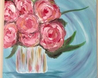 "Rose Bouquet, Square 24""x24"" Canvas Painting"