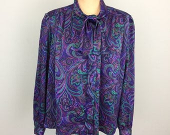 Purple Paisley Blouse with Bow Tie Petite 14 Long Sleeve Neck Tie Secretary Blouse Koret Womens Office Clothing Large Petite Womens Clothing