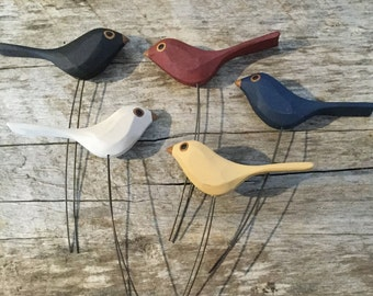 hand carved wood birds