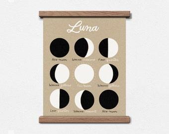 Luna Moon Phases 8 x 10 Screen Print